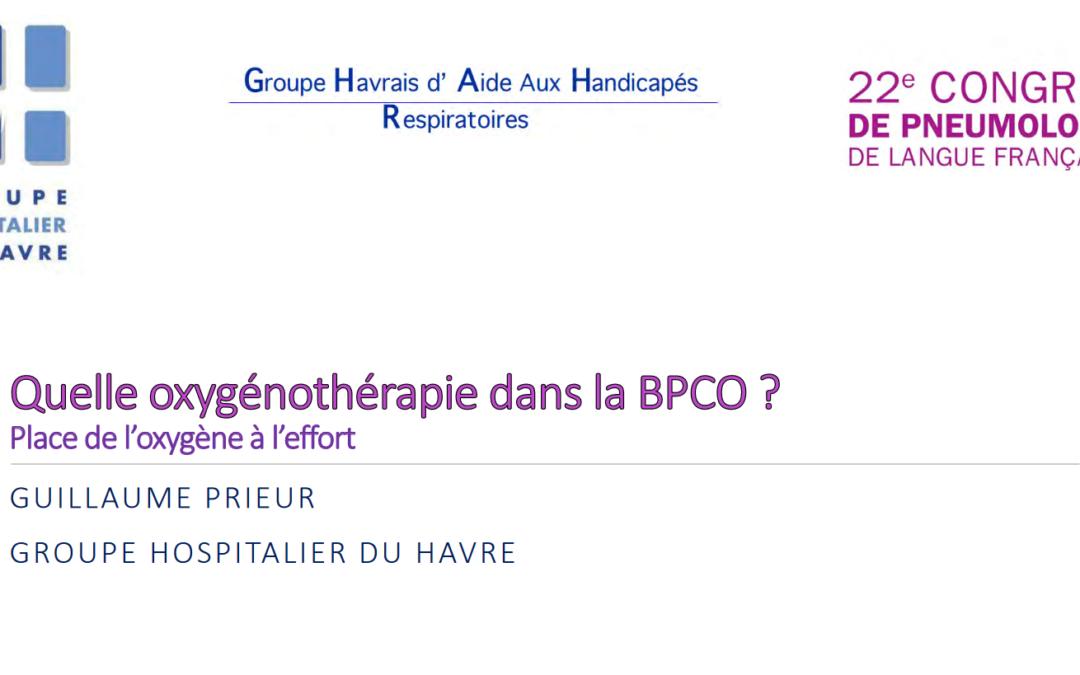 Atelier Quelle oxygénothérapie dans la BPCO ?